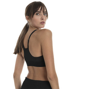 Thumbnail 2 of Mid Impact Logo Women's Bra Top, Puma Black, medium