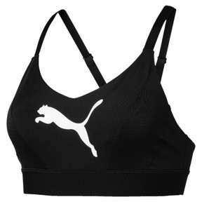 Thumbnail 4 of Mid Impact Logo Women's Bra Top, Puma Black-Puma White, medium
