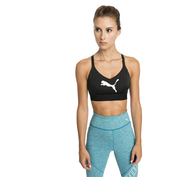 Mid Impact Logo Women's Bra Top, Puma Black-Puma White, large
