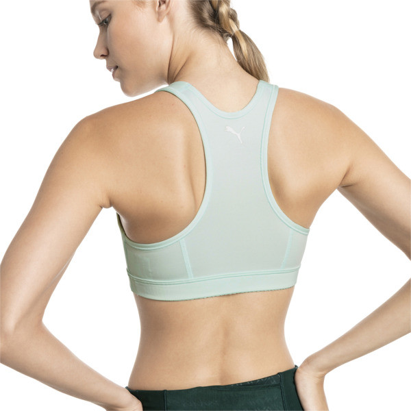 4Keeps Mid Impact Women's Bra Top, Fair Aqua-Silver PUMA, large