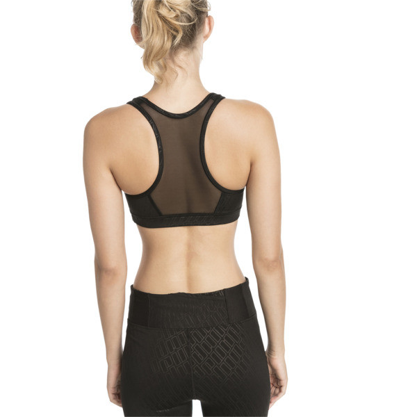 Top soutien-gorge Training 4Keeps Graphic Mid Impact pour femme, Puma Black-Emboss, large