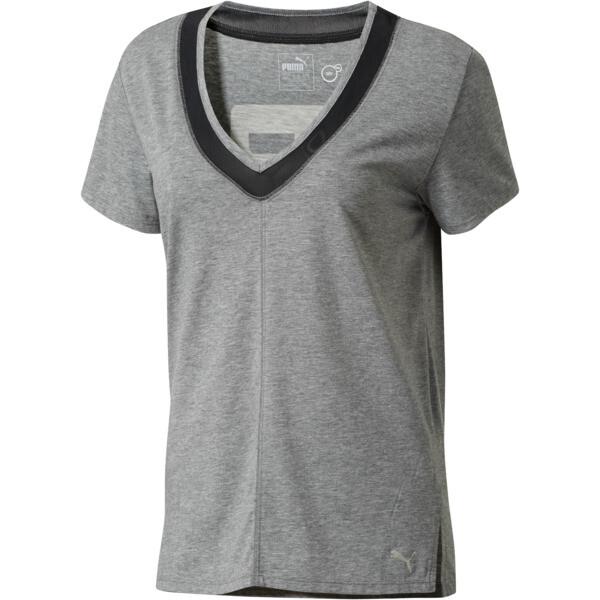 Slouchy-V Mesh T-Shirt, MGH-Puma Black, large