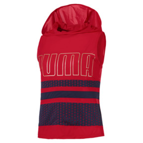 Thumbnail 1 of Varsity Sleeveless Women's Hoodie, Ribbon Red, medium
