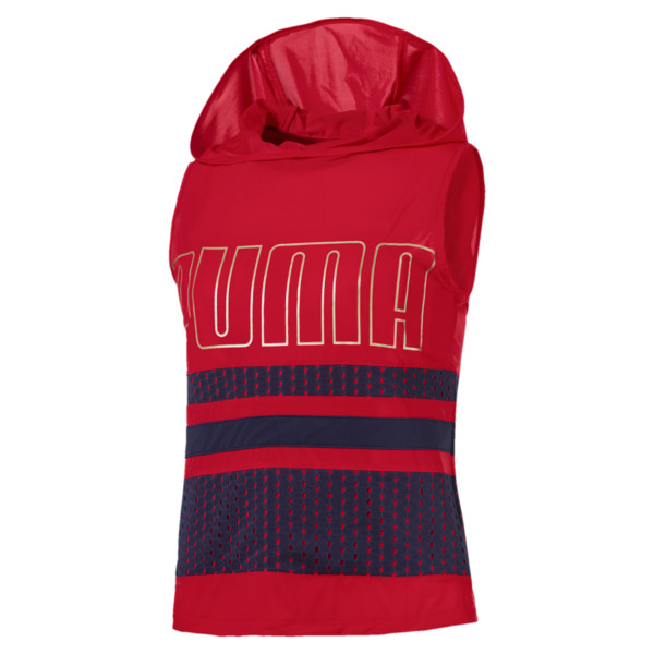 Varsity Sleeveless Women's Hoodie, Ribbon Red, large