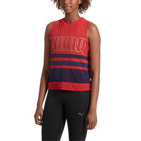 Thumbnail 2 of Varsity Sleeveless Women's Hoodie, Ribbon Red, medium