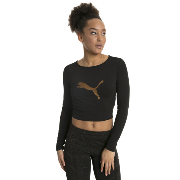 Luxe Long Sleeve Women's Crop Top, Puma Black, large