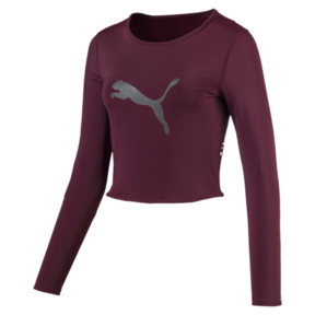Thumbnail 1 of Luxe Long Sleeve Women's Crop Top, Fig, medium