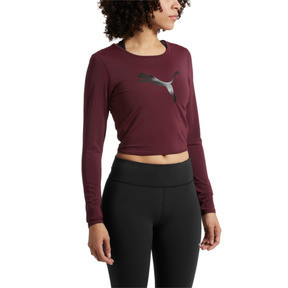 Thumbnail 2 of Luxe Long Sleeve Women's Crop Top, Fig, medium