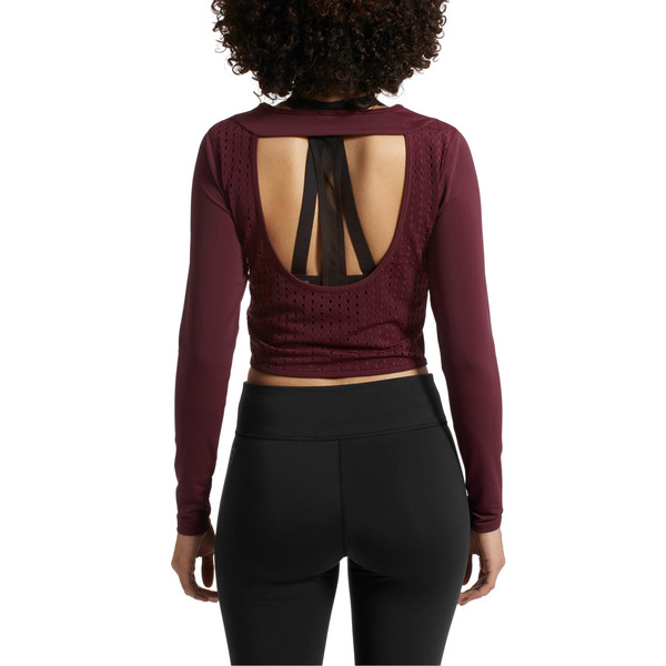 Luxe Long Sleeve Women's Crop Top, Fig, large