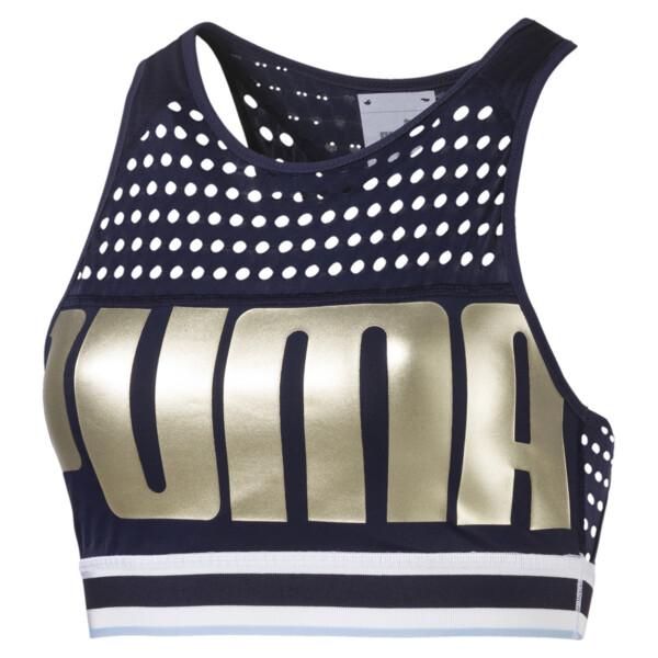 Mid Impact Women's Bra Top, Peacoat-MetallicGoldPUMA, large