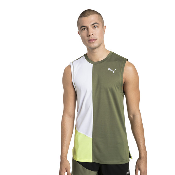 IGNITE Men's Running Singlet, Olivine-Puma White, large
