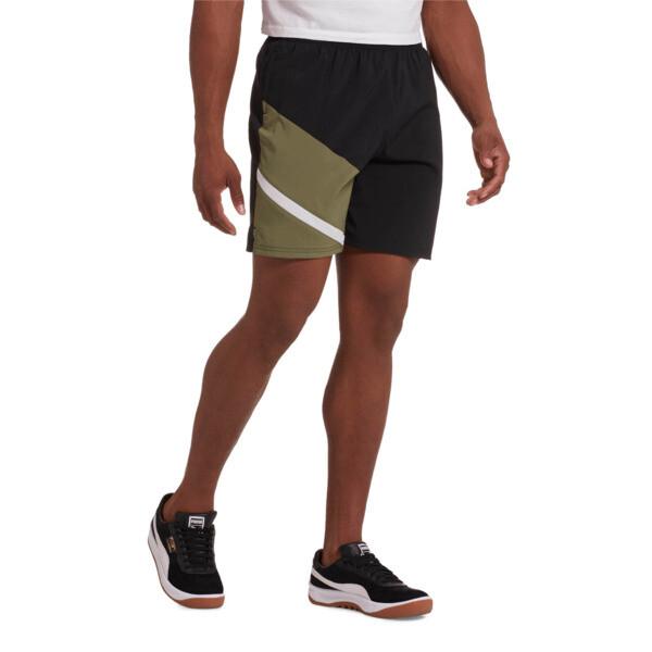 "Ignite Blocked Men's 7"" Shorts, Puma Black-Olivine, large"