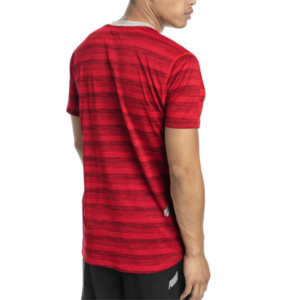 PACE Short Sleeve Men's Running Tee, Hi Rsk Red Hthr-Lt Gry Hthr, large