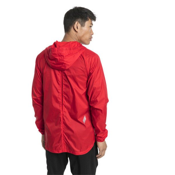 Lightweight Full Zip Hooded Men's Jacket, High Risk Red, large