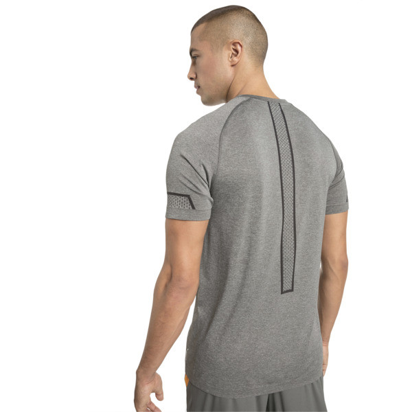 Energy Seamless Men's Training Tee, Charcoal Gray Heather, large