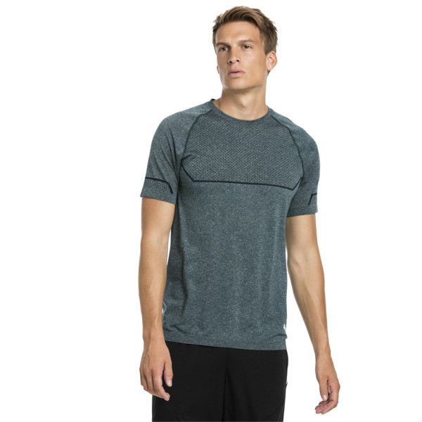 Energy Seamless Men's Training Tee, Ponderosa Pine Heather, large