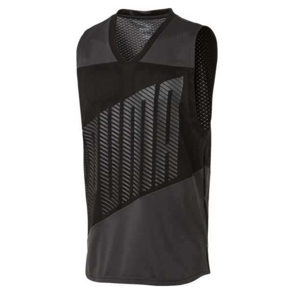 A.C.E. Sleeveless Men's Training Tee, Asphalt-Puma Black, large