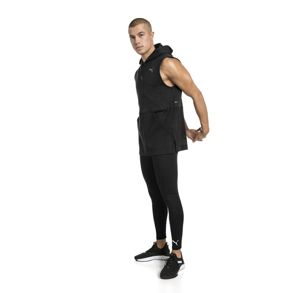 BND Sleeveless Men's Training Hoodie, Puma Black Heather, large