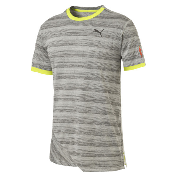 PACE Breeze Short Sleeve Men's Running Tee, Lt Gry Hthr-Fizzy Yellow, large