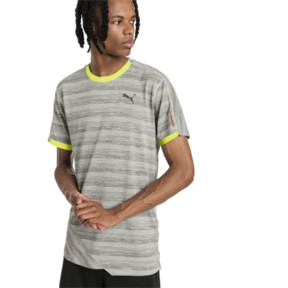 Thumbnail 1 of PACE Breeze Short Sleeve Men's Running Tee, Lt Gry Hthr-Fizzy Yellow, medium