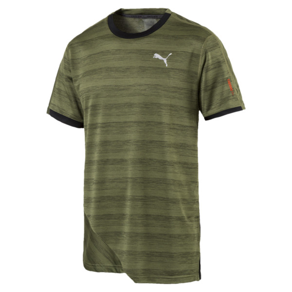 PACE Breeze Short Sleeve Men's Running Tee, Olivine-Puma Black, large