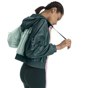Thumbnail 2 of Cosmic Knitted Trailblazer Women's Training Jacket, Ponderosa Pine-Fair Aqua, medium