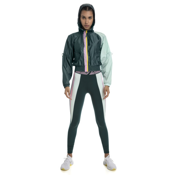 Cosmic Knitted Trailblazer Women's Training Jacket, Ponderosa Pine-Fair Aqua, large
