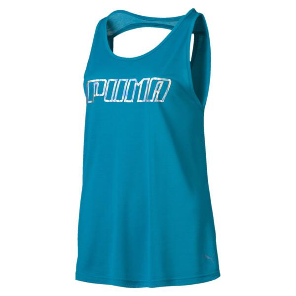 Own It Women's Tank Top, Caribbean Sea-PUMA wording, large