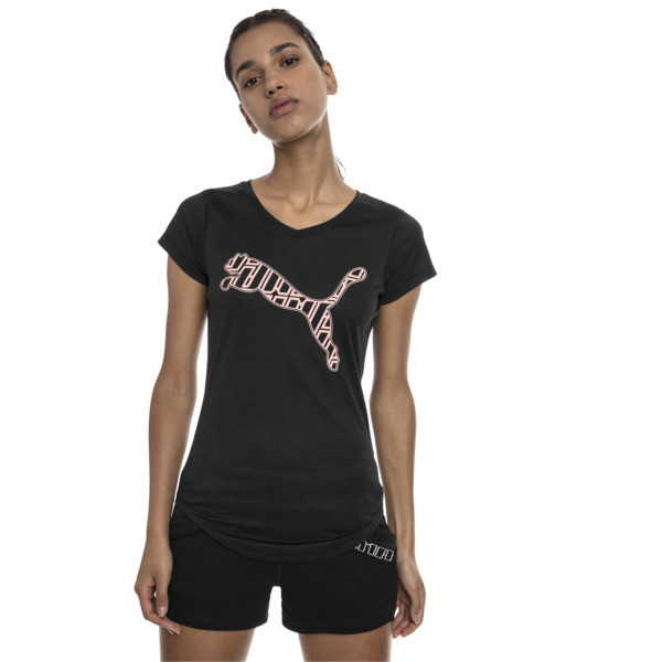 Heather Cat Short Sleeve V-Neck Women's Training Tee, Puma Black Heather, large
