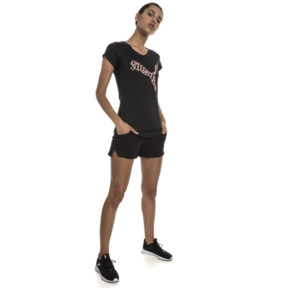 Thumbnail 3 of Heather Cat Short Sleeve V-Neck Women's Training Tee, Puma Black Heather, medium