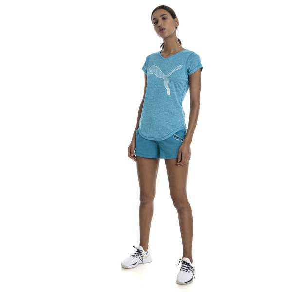 Puma - Heather Cat Short Sleeve V-Neck Women's Training Tee - 8
