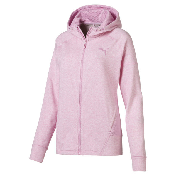 Yogini Women's Full Zip Jacket, Pale Pink Heather, large