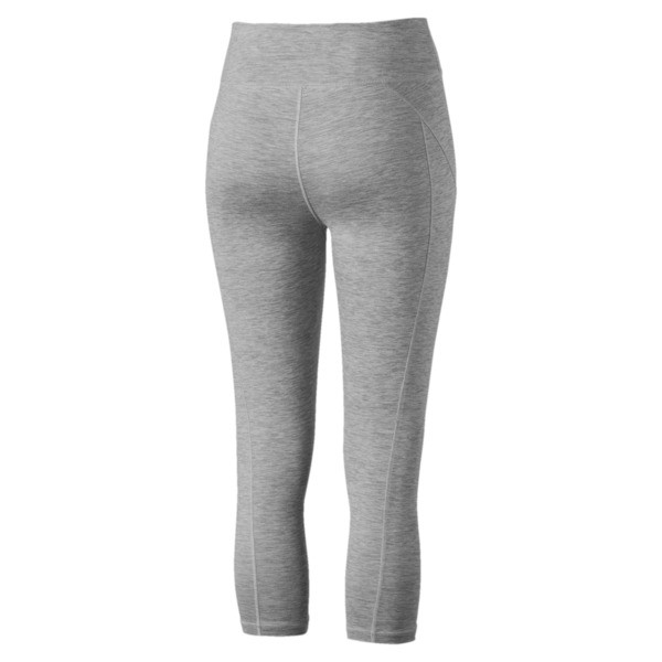 Yogini Women's 3/4 Logo Leggings, Light Gray Heather, large
