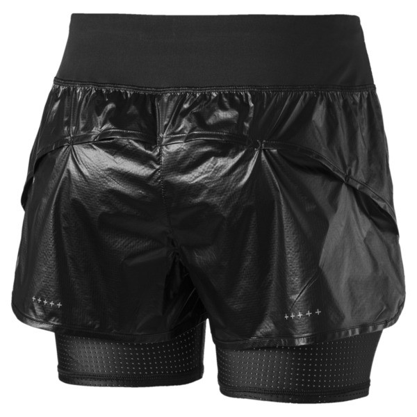 Short de course Blast tissé 2 en 1 pour femme, Puma Black-metallic, large