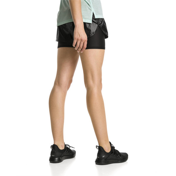 Blast Woven 2 in 1 Women's Running Shorts, Puma Black-metallic, large