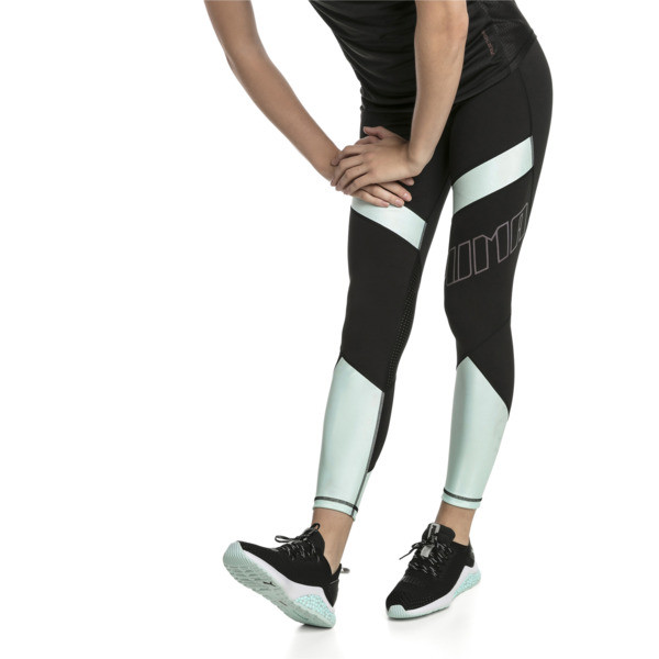 Elite Women's Running Leggings, Puma Black-Fair Aqua, large