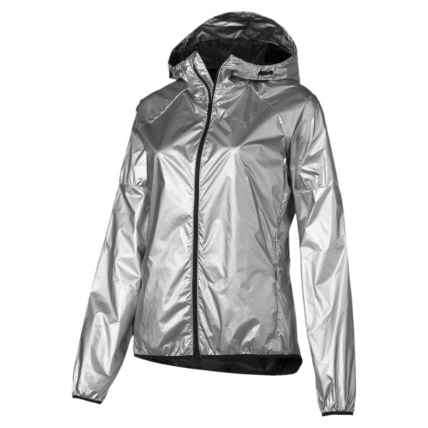 Last Lap Metallic Women's Running Jacket, Puma Silver-metallic, large