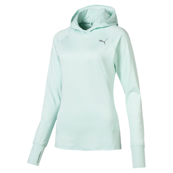 Ignite Long Sleeve Hooded Women's Running Tee, Fair Aqua Heather, large