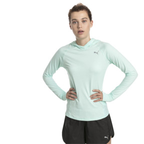 Thumbnail 1 of Ignite Long Sleeve Hooded Women's Running Tee, Fair Aqua Heather, medium