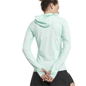 Thumbnail 2 of Ignite Long Sleeve Hooded Women's Running Tee, Fair Aqua Heather, medium