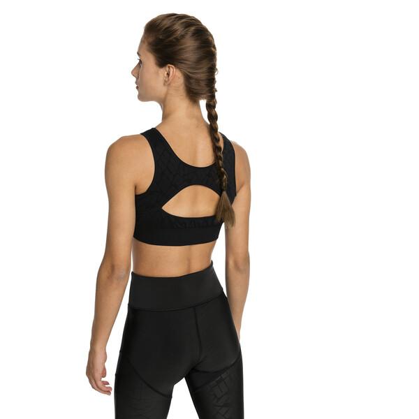 Damen Nahtloser Medium Support Sport-BH, Puma Black, large