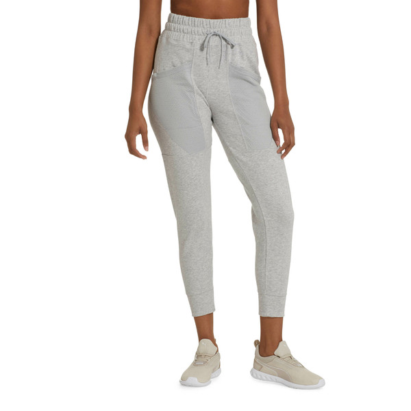 Yogini Women's 7/8 Pants, Light Gray Heather, large