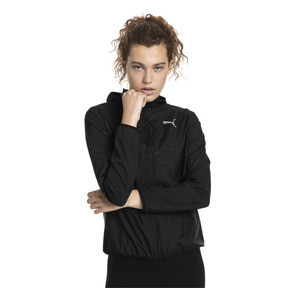 Thumbnail 1 of Ignite Woven Hooded Women's Running Track Jacket, Puma Black, medium