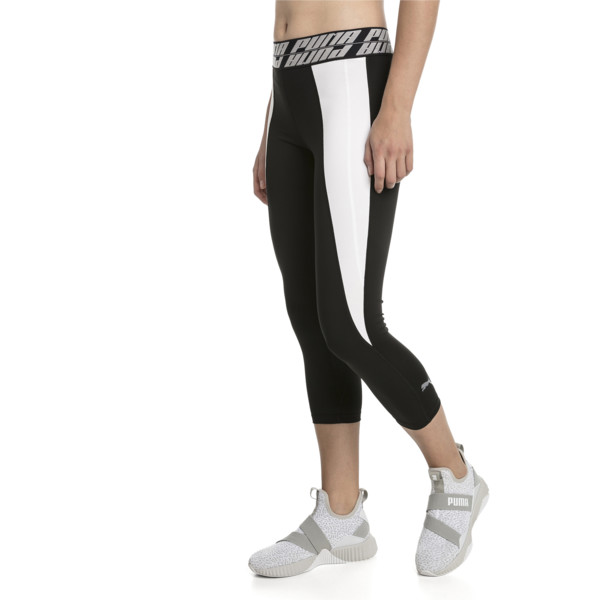 Own It Women's 3/4 Leggings, Puma Black-Puma White-Q2, large