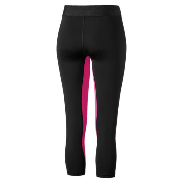 Own It Women's 3/4 Leggings, Puma Black-Fuchsia Purple-Q2, large