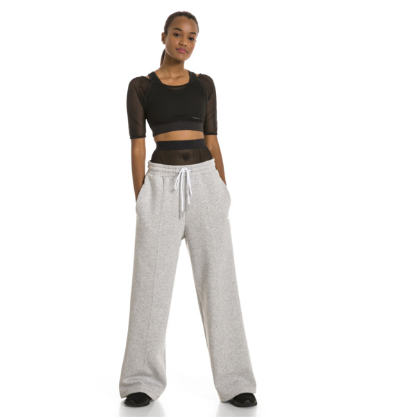PUMA x SELENA GOMEZ Damen Strick Sweatpants, Light Gray Heather, large