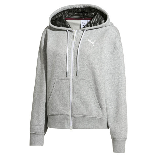 PUMA x SELENA GOMEZ Women's Training Hoodie, Light Gray Heather, large