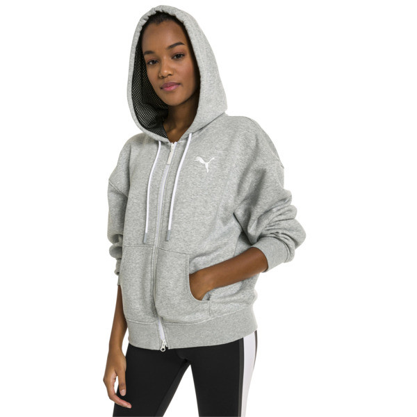 SG x PUMA WOMEN'S FULL ZIP HOODIE, Light Gray Heather, large-JPN