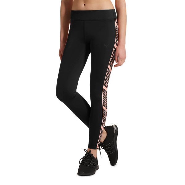 Feel It Women's 7/8 Leggings, Black-with Bright Peach tape, large