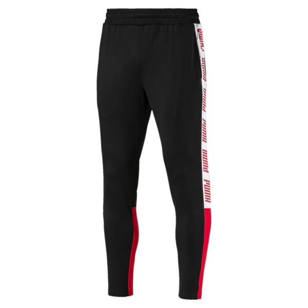 A.C.E. Men's Track Pants, Black-High Risk Red-White, large